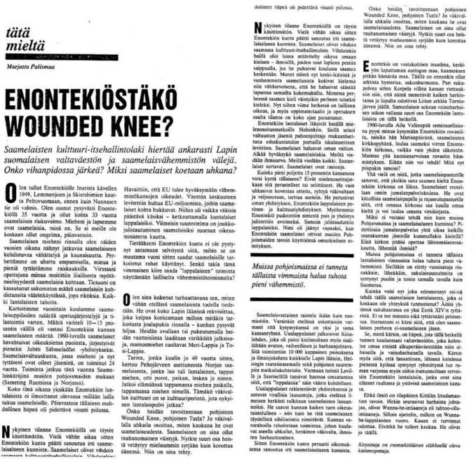 HS Tätä mieltä 21.1.1996: Enontekiöstäkö Wounded Knee?